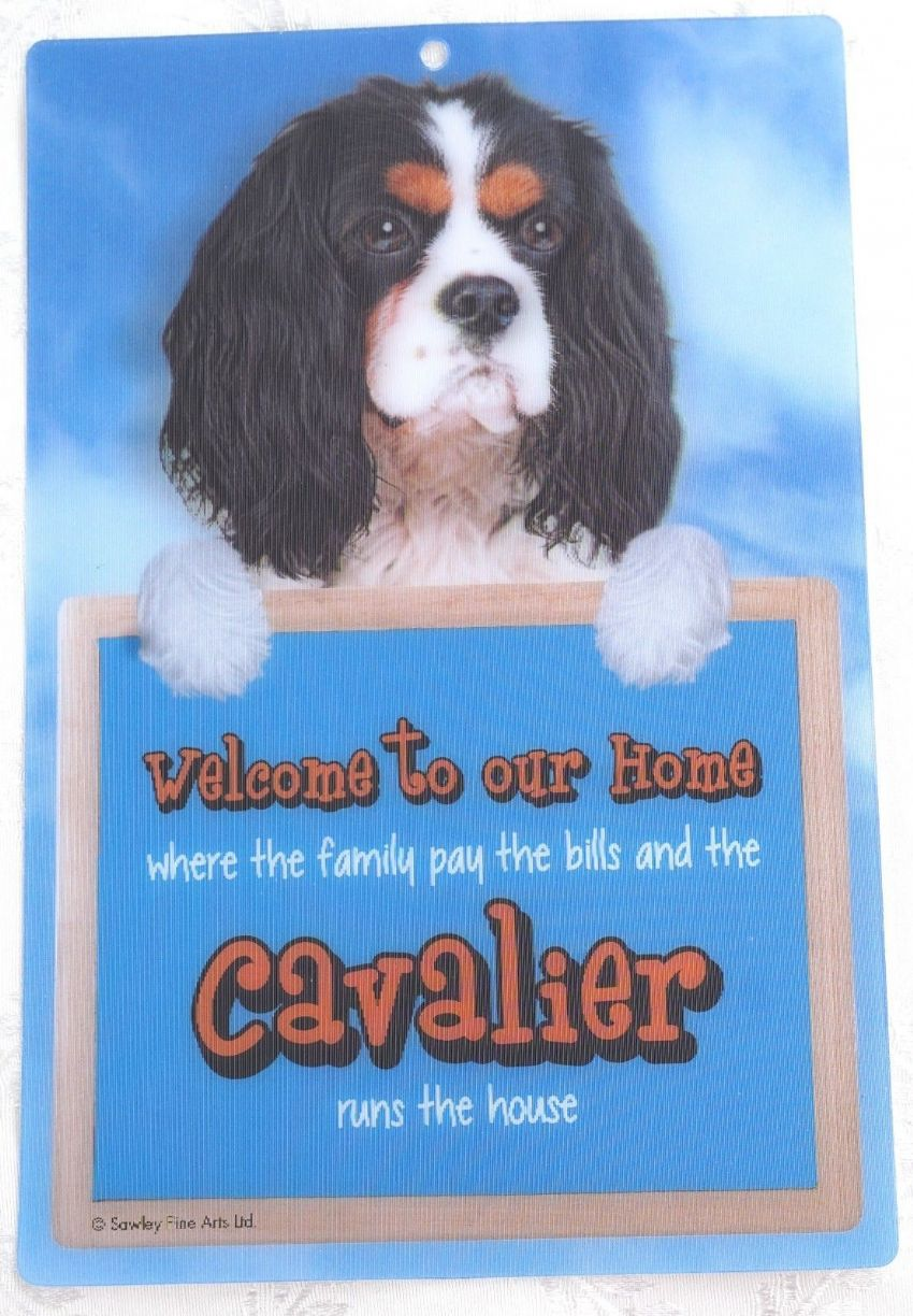 CAVALIER TRI 3D DOG WELCOME SIGN 23CM X 15CM DURABLE SIGN